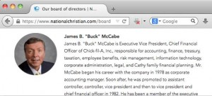 buck mccabe 300x137 Chick Fil A Vice President on Board of Biggest Anti LGBT Funder In America