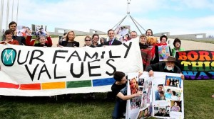 People protesting the World Congress Of Families event. (News Corp Australia)
