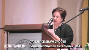 Janice Shaw Crouse representing Concerned Women For America at the World Congress Of Families